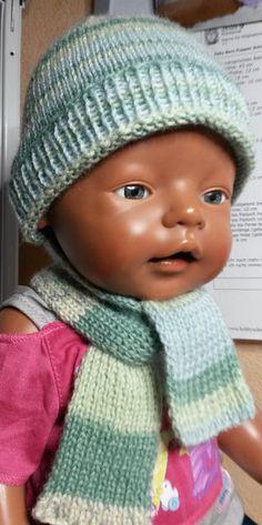 Puppenkleidung - Mütze mit Schal grün - ein Designerstück von by_Masha bei DaWanda