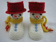 Knitting baby boots Snowman himself - DIY ♥