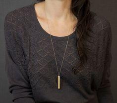 Long Necklace Gold Bar / Blank Bar Simple Long by LayeredAndLong