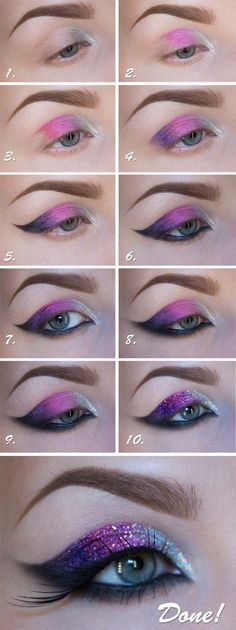35 Glitter Eye Makeup Tutorials - Tutorial: New Years Glitter Makeup - Step By Step DIY Glitter Eye Make Up Tutorials that WIll Make Yours Eyes Sparkle - Silver and Gold Linda Hallberg Looks, Awesome Eyeshadow Products, Urban Decay and Looks for Your Eyebrows to Make You Look Like a Beauty - https://thegoddess.com/glitter-eye-makeup-tutorials