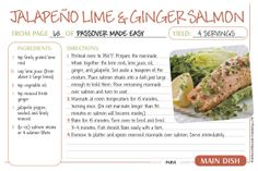 Jalapeño Lime & Ginger Salmon - Passover Recipe Cards