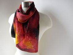 Galaxy Scarf Fire Colored Scarf Katniss Hand by joyinmystudio