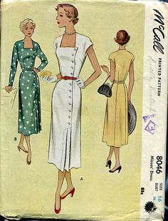 LOVELY Dress Pattern McCALL 8046 Side Button Day or Dinner Dress Bust 34 Vintage Sewing Pattern FACTORY FOLDED-Authentic vintage sewing patterns: This is a fabulous original dress making pattern, not a copy. Because the sewing patterns are vint Vintage Dress Patterns, Dress Sewing Patterns, Clothing Patterns, Vintage Dresses, Vintage Outfits, Pattern Dress, Retro Fashion, Vintage Fashion, Classic Fashion