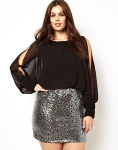 1ed64f15de Club L Plus Size Split Sleeve Dress with Sequin Skirt Curvy Fashion
