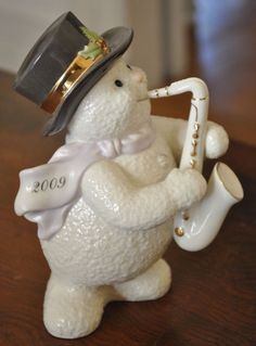 Lenox SAXOPHONE SOLO 2009 Annual Snowman Figure RARE Musical Instrument