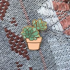 Succulent Pin by Lorhs on Etsy what a cute little plant pin! Soft Grunge, Bijou Box, All The Bright Places, Tsumtsum, Jacket Pins, Cool Pins, Metal Pins, Pin And Patches, Up Girl
