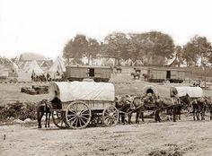 Civil War Wagon Train, taken near Savage Station, Virginia in 1862