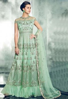 b298c1375031b Embroidered Net Abaya Style Suit in Light Green Latest Anarkali Suits