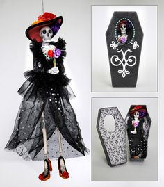 "Katherine's Collection Drop Dead Gorgeous Halloween Collection Set Two 13"" Skeleton Ornaments In Coffin Boxes Free Ship"