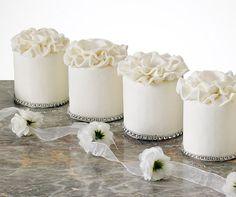 White Mini Cakes By Papillion Couture Cakes Individual Wedding Cakes, Small Wedding Cakes, Individual Cakes, Wedding Cupcakes, Mini Cupcakes, Cupcake Cakes, Mini Tortillas, Pretty Cakes, Beautiful Cakes