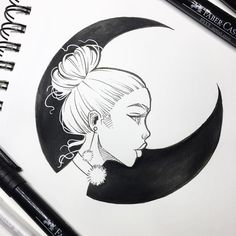 Black Moon • Yesterday's #inktober sketch • done with Faber-Castell PITT artist pens and a Gelly Roll pen • working on another for today • it's been a crazy week! Hoping to reply to some more emails this weekend. Thank you all for your patience! ✨ #inktober2016 #graphicartery #sketch #sketchbook #ink #drawing #instaart #illustration #myart #artoftheday #instaartist #moon #occult #witch #draw