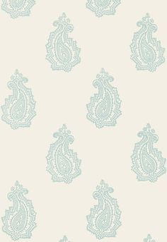 5005302 Madras Paisley Water Blue by FSchumacher Wallpaper