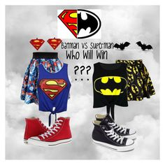 """Batman vs superman"" by xoawesomexo ❤ liked on Polyvore featuring Converse and Monday"