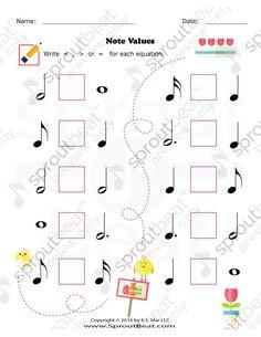 Music Worksheets – Easter – Note Value