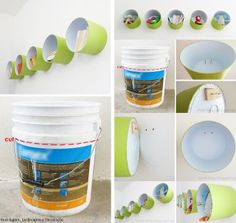 5 gallon bucket hack -upcycle -wall decor -reuse -shelf -diy storage via Married and In Love: Ideas