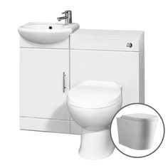 Marsten Combined Bathroom Vanity Unit - 885mm Gloss White Suite Unit with Toilet and Basin