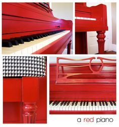 Fun Painted Piano ~ can i have this? And play the most fun songs ever.. while eating pastries. Because, that is a red piano. And i like it.