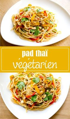 colorful vegetarian pad thai recipe on the dough - Recettes - Asian Recipes Thai Recipes, Veggie Recipes, Asian Recipes, Crockpot Recipes, Vegetarian Recipes, Healthy Recipes, Greenbean Casserole Recipe, Casserole Recipes, Pad Thai Receta