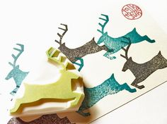 deer rubber stamp. reindeer stamp. silhouette deer by talktothesun