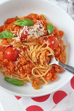 Delicious and easy Red Lentil Bolognese. A super tasty family friendly vegetarian meal.