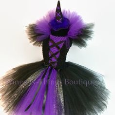 PURPLE WITCH COSTUME Tutu Dress Set w/ mini witch hat headband, Wicked, Halloween, Toddler, Girls, Birthday, Bad, Birthday, Purple, Black by wingsnthings13. Explore more products on http://wingsnthings13.etsy.com