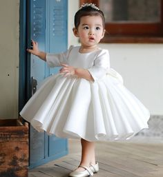 Shop High-end Ivory Satin Flower Girl Dress Modern With Sleeves Toddler Girls Pageant Gown online. Super cute styles with couture high quality. 1st Birthday Dresses, Baby Girl Party Dresses, Little Girl Dresses, Girl Birthday, Flower Girls, Flower Girl Dresses, Baptism Dress, Christening Gowns, Gowns For Girls
