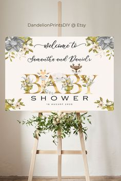 Welcome your guests with this gorgeous watercolour Welcome sign. This template is fully editable and can be downloaded instantly. Baby Shower Printables, Party Printables, Sprinkle Invitations, Gender Neutral Baby, Baby Sprinkle, Diy Baby, Baby Shower Decorations, Welcome, Baby Showers