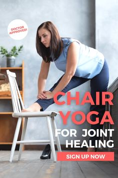 This gentle chair yoga course will help you achieve less pain, increase comfort and mobility, and reduce anxiety - with just a few minutes a day.The chair provides a sturdy base to work on gentle movements to improve joint function, awaken your muscle strength, all while improving your balance and posture! By doing these 10 gentle but powerfully effective workouts in a chair, you CAN regain your mobility and strength, without having to get down to the floor. Desk Yoga, Chair Yoga, Asana Yoga Poses, Exercises, Workouts, Yoga Courses, Health And Wellness Coach, Yoga Pictures, Yoga Tips