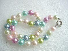 Multicolor seashell pearl 12mm necklace