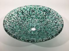 Blue Green and White Crushed Glass Bathroom by MillicanArtGlass Glass Vessel Sinks, Vessel Sink Bathroom, Glass Bathroom, Bathroom Ideas, Crushed Glass, Decorative Bowls, Glass Art, Blue Green, Unique Jewelry