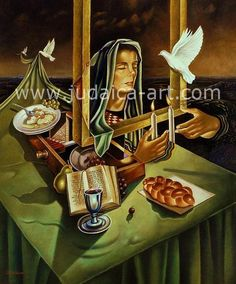 Israel Rubinstein-Lighting Shabbat Candles-Judaica Jewish art oil Painting