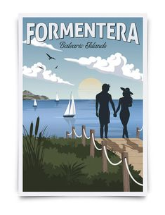 Balearic Islands, Vintage Travel Posters, All Poster, Card Sizes, Norway, Wall Art, Etsy, Illustration, Prints