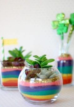 These Rainbow Sand Art Terrariums are sure to put a smile on anyone's face! Add a lot of color to glass vases with colored sand in rainbow hues! A perfect St. Patrick's Day craft for any age! Sand Crafts, Diy And Crafts, Projects For Kids, Art Projects, Sand Art Bottles, Rainbow Decorations, Rainbow Crafts, Cactus Y Suculentas, Succulent Plants