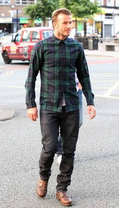 Beckham. I want a plaid shirt in a particular dark green/navy pattern sorta like this