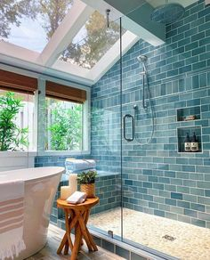 Beautiful Small Bathrooms, Dream Bathrooms, Master Bathrooms, Master Baths, Master Master, Luxury Bathrooms, Blue Tile Bathrooms, Cottage Bathrooms, Outdoor Bathrooms