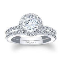 halo bridal set 7895sw stunning in vogue this white gold diamond halo - Halo Wedding Ring Sets