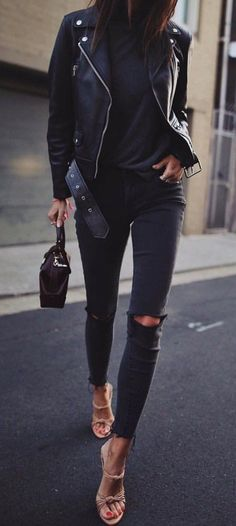 Winter fashion comfy casual style outfit ideas -- all black outfit Tomboy Fashion, Fashion Pants, Look Fashion, Autumn Fashion, Fashion Outfits, Womens Fashion, Fashion Sale, Fashion Spring, Cheap Fashion