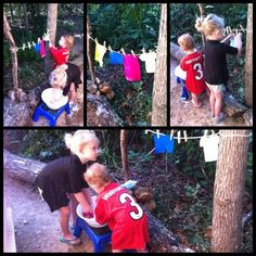A Kiddie Clothesline. What a lovely, lovely activity for so many reasons (fine motor and practical life especially!). It brings me back to days with my Grammie!