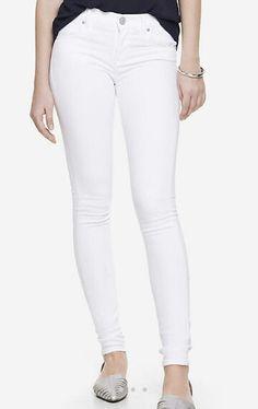 Mid-rise white jean legging Express