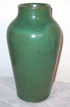"Bauer Art Pottery Green 8"" Vase Los Angeles Handmade California | eBay"