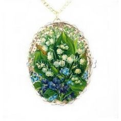 Vintage Lily of Valley Necklace Porcelain Glass Jewelry
