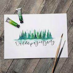 """Wenn mir mal einer gesagt hätte, dass ich mal gerne mit #Aquarell male, hätte ich gesagt """"Du lügst!"""". Aber so ist es jetzt. Ich liebe das sehr beim heutigen #waldspaziergang in der #ilettertoochallenge konnte ich mich endlich mal von @soj.art inspirieren lassen, die das natürlich 1000 mal besser beherrscht. Ich liebe diese Bäume ❤ . #iletterju #handlettering #lettering #brushlettering #ilettertoo #läddergäng #wald #baum #calligrafriends #moderncalligraphy #modernlettering #trees #ichundm..."""