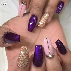 purple-nails-designs-coffin-gold-glitter-accent-rhinestones Gel Nail Art Polish Trends Part five 2018 Nail Art Polish Trends Gel Nail Designs 2018 Gel Nail Art 2018 Purple Nail Designs, Cute Nail Designs, Acrylic Nail Designs, Acrylic Nails, Gold Designs, Dark Purple Nails, Purple Nail Art, Purple Gold, Purple Glitter Nails