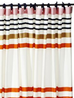 Good idea to improvise window curtains: Shower Curtain + ribbons - The Frugal Guide to Fancy Curtains on HGTV Rv Curtains, Fancy Curtains, Striped Shower Curtains, Alice In Wonderland Room, Curtains Pictures, Pantry Inspiration, Shower Curtain Rings, Window Dressings, Little Girl Rooms