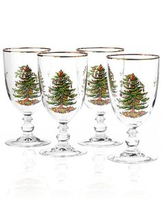 Shop Spode - Christmas Tree Goblet Set at Peter's of Kensington. View our range of Spode online. Why in the world would you shop anywhere else for Spode? Christmas Tree Collection, Spode Christmas Tree, Christmas Dishes, Christmas Dinnerware, Vintage Christmas, Silver Christmas Decorations, Holiday Decor, Stocking Tree, Christmas Cocktails