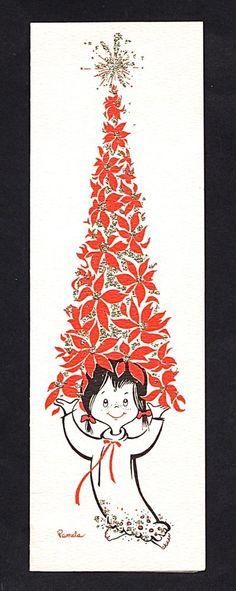 Vintage Christmas Card. Black & red, silver gliter accents, on white background. tiny girl wearing night gown holding poinsettia tree on her head. Reminds me of Dr Seuss illustration. Signed by Artist Pamela.