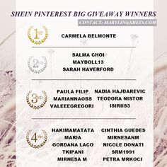 >>>SheIn Pinterest Big Giveaway Winners<<< Congratulations to the 20 lucky dogs!!!  Please contact: marylin@shein.com! ^_^