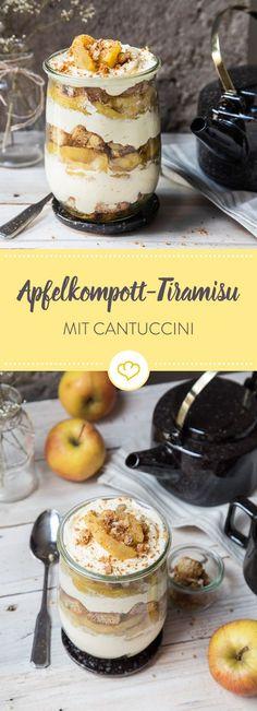 Dieses besonders frische Apfelkompott-Tiramisu mit Cantuccini ist für Groß und Klein, denn es kommt ganz ohne Kaffee und Alkohol aus.