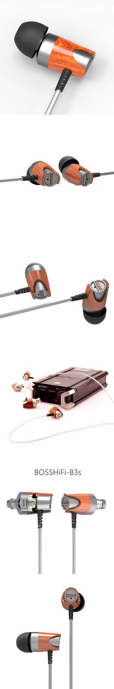 2017 BOSSHIFI B3s Dynamic and Armature 2 unit Moving Iron&Coil In Ear Wood HiFi Earphone B3S Headset Earbuds Silver Plated Cable