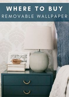 The removable wallpaper in our room ended up being a gamechanger for the space. In a rental with beige walls that I have no desire to paint my (or paint back), it was the perfect solution to bringing some interest to the room in a nonpermanent way. Now I'm sharing some of my favorite places to buy it for yourself! Cozy Home Decorating, Rental Decorating, Decorating Tips, Removable Wallpaper For Renters, Temporary Wallpaper, Diy House Projects, Outlet Covers, Beige Walls, Dresser As Nightstand